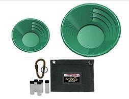 "2 Dual Micro Riffle Green Gold Pans - 14"" Gold Pan | 8"" Gold"