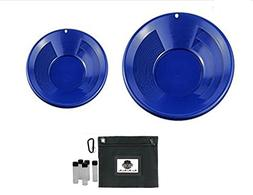 """2 Dual Riffle Blue Gold Pans - 12"""" & 8"""" with Treasure Bag &"""