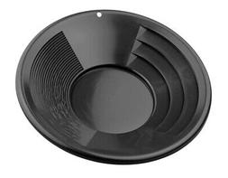 "10"" Black Dual Riffle Plastic Gold Pan Nugget Mining Dredgin"
