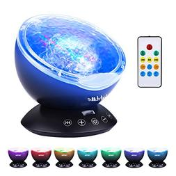 LightMe Colorful Ocean Wave Projector, Touch Sensor 12 LED &