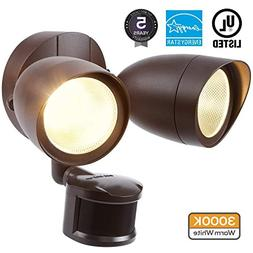 LEONLITE Dual-Head Motion-Activated LED Outdoor Security Lig