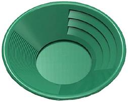 "SE GP1014G14 14"" Green Plastic Gold Pan with Two Types of Ri"