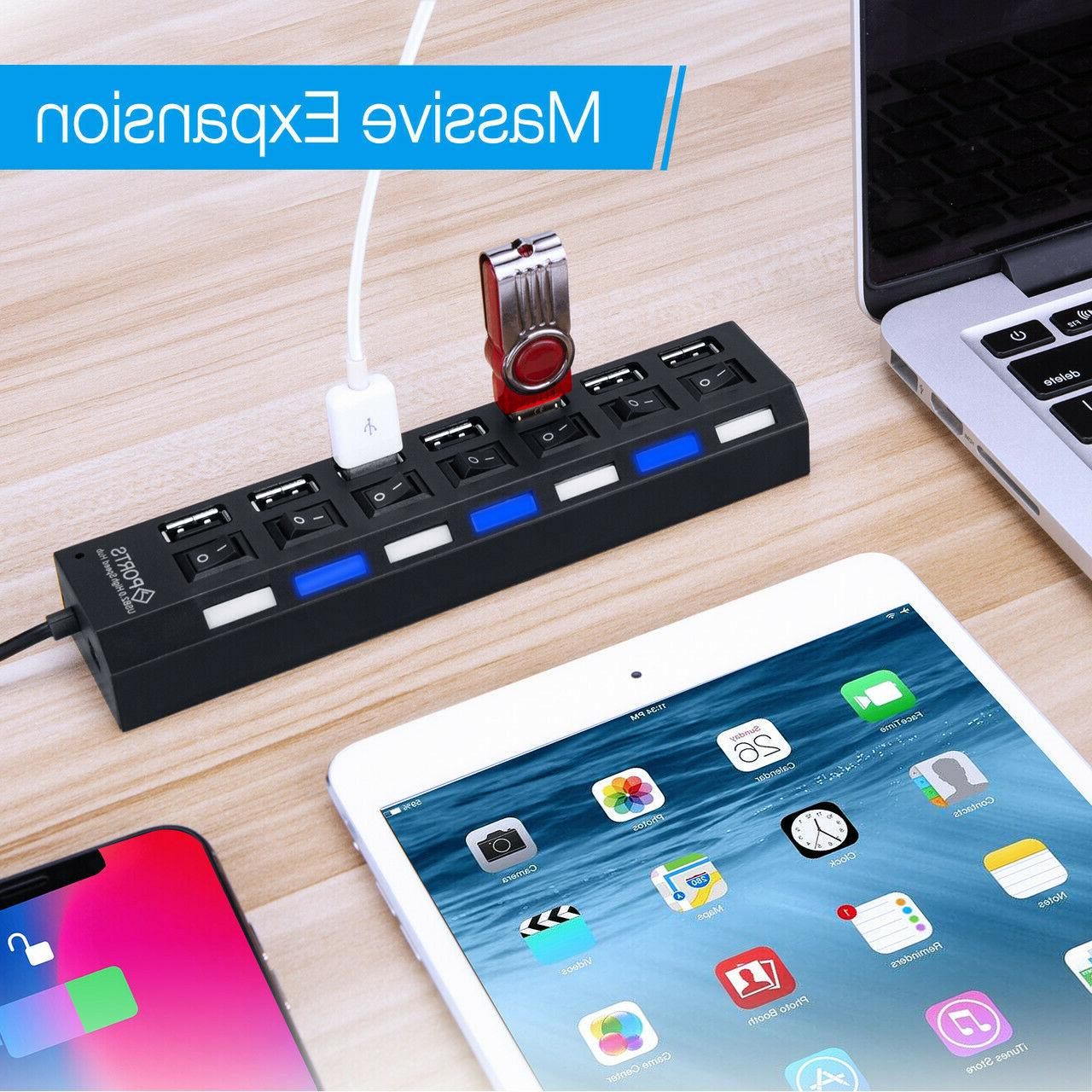 7 Hub High Speed Dock Phone Desk Home Desktop Led