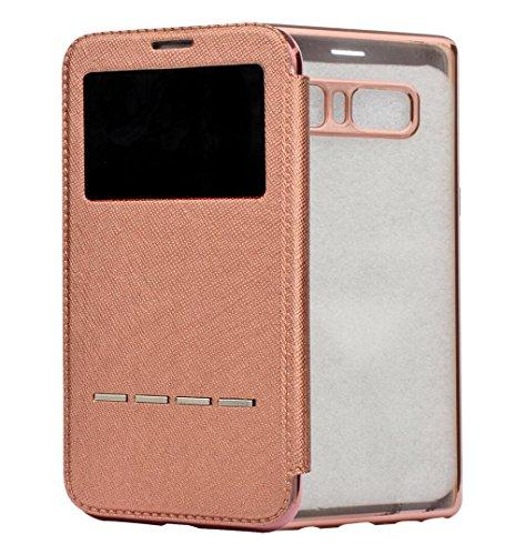 For Galaxy S6 Edge Case, Omio Flip Smart Sensor Touch View W