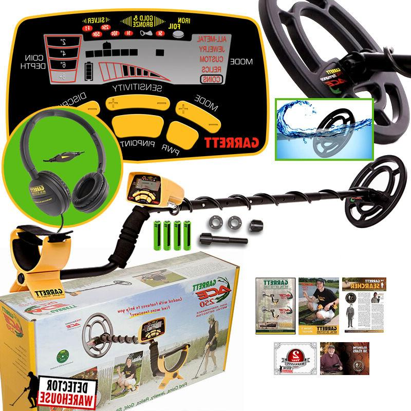Garrett Ace 250 Metal Detector w/ WaterProof Coil and ClearS