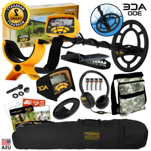 ace 300 metal detector with headphones carry
