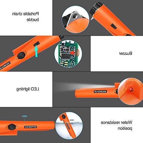 kuman Pin Pointer Metal Detector Multifunctional PVC Holster 360° Scanning