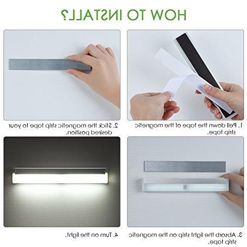 LED Motion Sensor Under Cabinet 20 LEDs Rechargeable Closet Magnetic Counter Hallway, 3 Pack