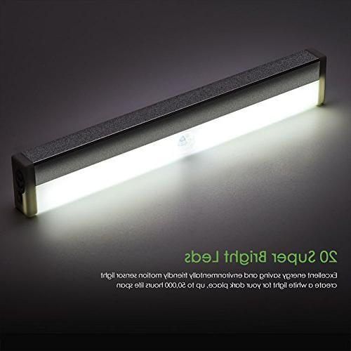 LED Light Motion Sensor Under Cabinet 20 Closet Lights Wireless Magnetic Stick on Stairs Light for Pack