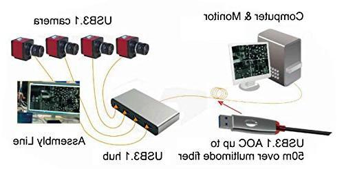 Tyfiber USB Active Optical Male Multi-mode CableBlack Metal Superior EMI USB3.1 3.0