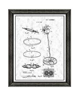 Metal Detector Patent Art Gunmetal Print with a Border in a