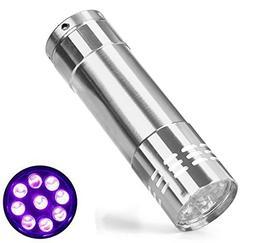 Mini Aluminum UV Flashlight Blacklight, 9 UV LED Ultraviolet