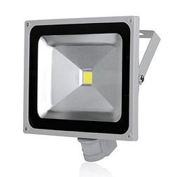 50W LED Motion Sensor Flood Lights, Waterproof IP65, Cool Wh