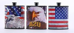 RED, WHITE AND BLUE PATRIOTIC USA PLASTIC HIP FLASK 3 PC SET