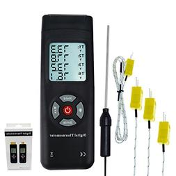 thermometer 4 channels k thermocouple